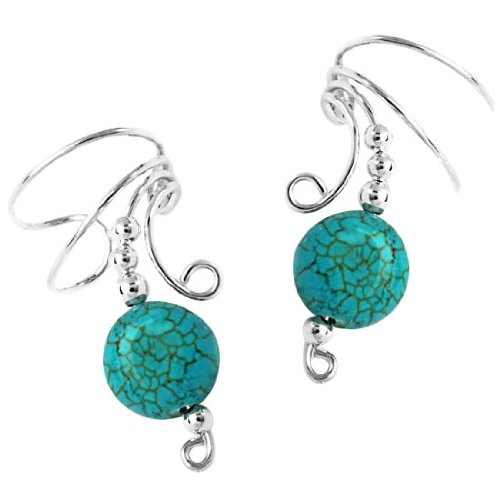 Sterling Silver Turquoise Disc Wave Ear Cuff Wrap Set
