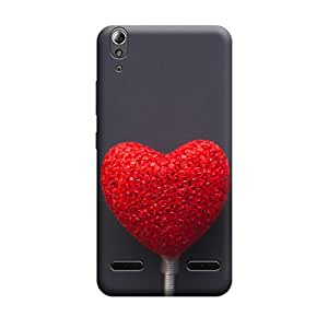 Lenovo A6000 Red Dimond Heart Premium Designer Polycarbonate Hard Back Case Cover with full Protection