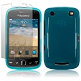 BLACKBERRY CURVE 9380 BLUE TPU GEL SKIN CASE / COVER + SCREEN PROTECTOR PART OF THE QUBITS ACCESSORIES RANGEby Qubits