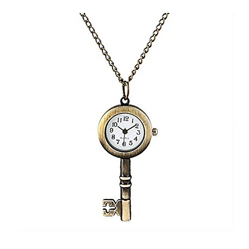 Minilujia-Vintage-Womens-Girls-Pocket-Watch-Necklace-Quartz-Watch-Key-Dial-Pendant