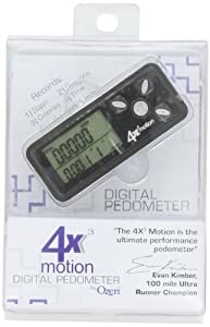 Ozeri 4x3motion Digital Pocket 3D Pedometer with Tri-Axis Technology, in Black