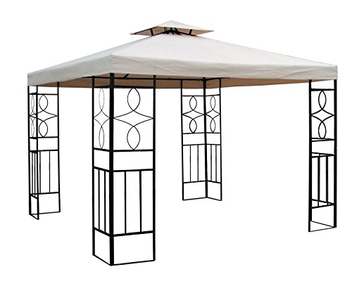 WASSERDICHTER Pavillon 3x3m BEIGE ROMANTIKA inkl. 310g/m² Dach Festzelt wasserfest Partyzelt