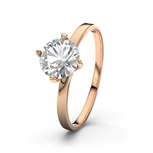 21DIAMONDS Women's Ring Tegan 21D White Topaz Brilliant Cut Engagement Ring, 18 K Rose Gold Engagement Ring