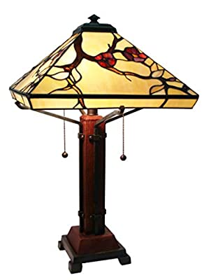 Fine Art Lighting Mission Style Tiffany Table Lamp, 14 by 24-Inch, 224 Glass Counts Includes 12 Cabochons