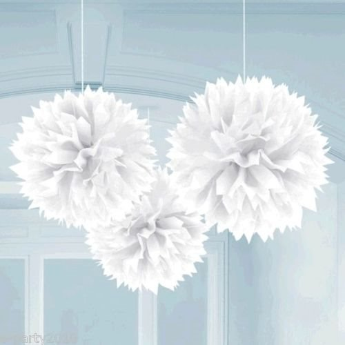 White Large Fluffy Pom Pom Hanging Decorations (3Ct) front-1038088