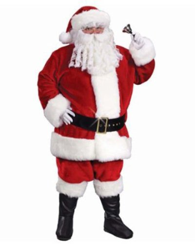 6-Piece Red Regency Plush Santa Claus Christmas Suit Costume - Adult Size 40-48