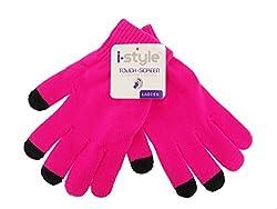 Ladies Neon Touchscreen Stretch Gloves - Black/Pink