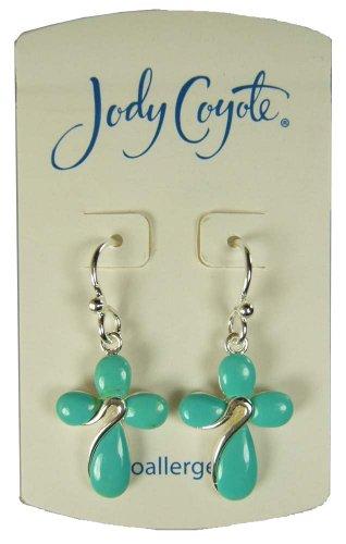 Jody Coyote Silver Turquoise Cross Earrings 1331666