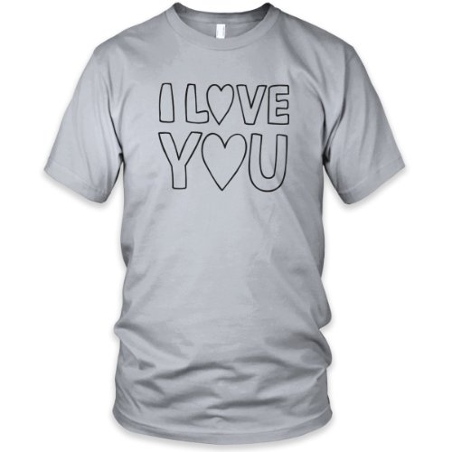 I Love You (Black) Fine Jersey T-Shirt, New Silver, M