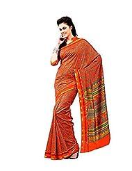 First Loot Designer Party Wear Raw Silk Orange Saree -2370