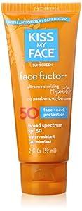 Kiss My Face Face Factor Sunscreen SPF 50 Sunblock for Face and Neck, 2 oz
