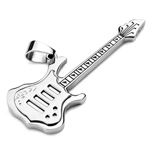 Men,Women'S Stainless Steel Pendant Necklace Silver Guitar Punk Rock -With 23 Inch Chain