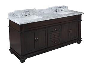 Elizabeth 72 Inch Bathroom Vanity Carrara Chocolate Includes Chocolate Cabinet With Soft