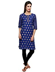SYDA Women's Blue Formal/ Party Wear Cotton Kurti