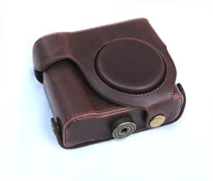 """Rainbowimaging """"Ever Ready"""" Protective Dark Brown Leather Camera Case , Bag for Canon Powershot G15"""