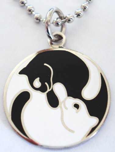 Yin Chi Yang Black White Cats Pendant Necklace w/ball chain