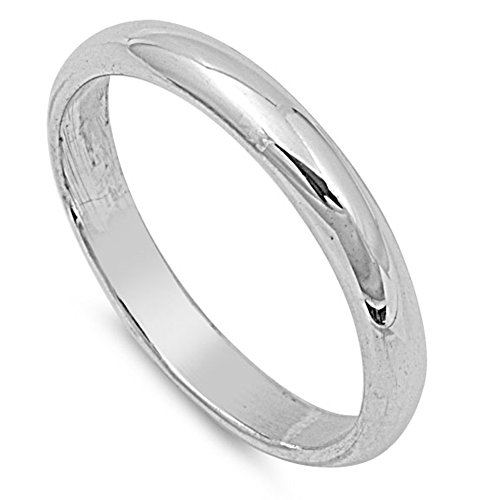 Sterling Silver Wedding 3mm Band Plain Comfort Fit Ring Solid 925 Size 8 (5503=8)