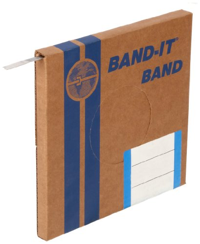 "BAND-IT C40399 316 Stainless Steel Uncoated Band, 3/8"" Width X 0.025"" Thick, 100 Feet Roll"