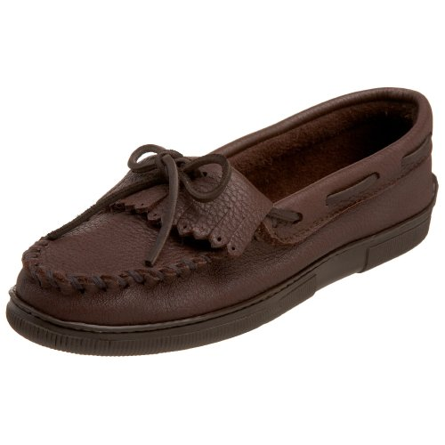 Minnetonka Women's Moosehide Fringed Kilty Moccasin,Chocolate,6 M US