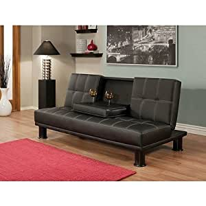 Amazon Com Convertable Black Faux Leather Furniture Sofa