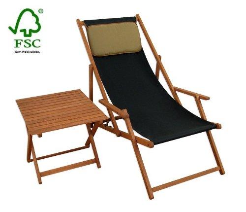 Sonnenliege Gartenliege Deckchair Saunaliege inkl. Kopfstütze + Tisch