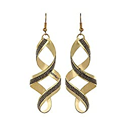 Sorellaz Golden Becutiful Rotating Drop Earrings