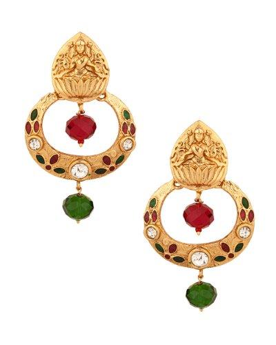 Voylla Golden Goddess Lakshmi Temple Design Earrings (multicolor)