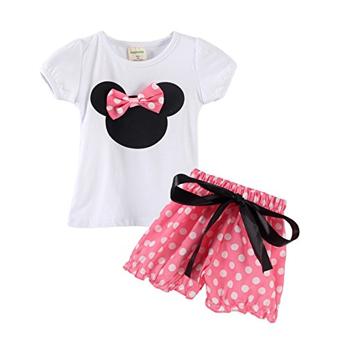 Toddler Girl's Polka Dot Cartoon T-shirt and Shorts Outfits 24M Pink Shorts (Summer Toddler Clothes compare prices)