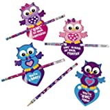 Valentine Owl Cards With Pencils - Valentine's Day & Valentine's Day Cards