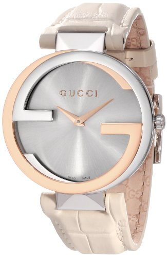 Gucci Women's YA133303 Interlocking White Crocodile Pink Gold and Steel Watch
