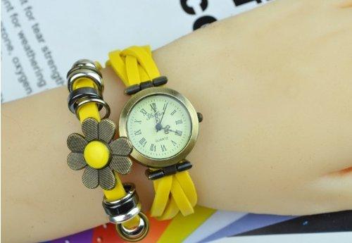 Kano Bak(Tm) Fashion Weave Wrap Around Press Button Leather Retro Bracelet Woman Girl Unisex Sunflower Wrist Nice Gift Watch Yellow