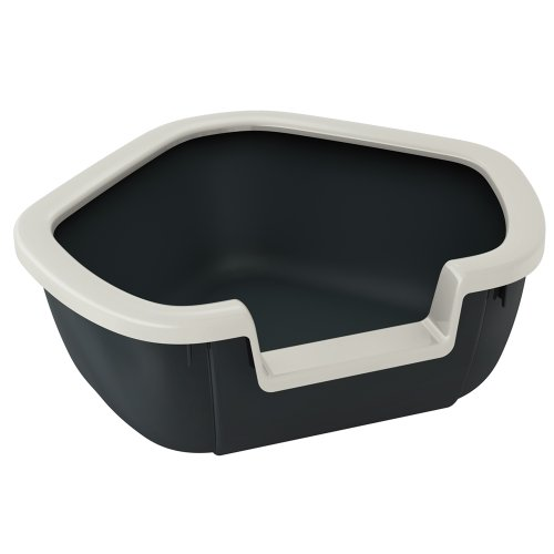 Ferplast 72039099W1 Katzentoilette DAMA, offene Katzentoilette, Maße: 57,5 x 51,5 x 22 cm, schwarz