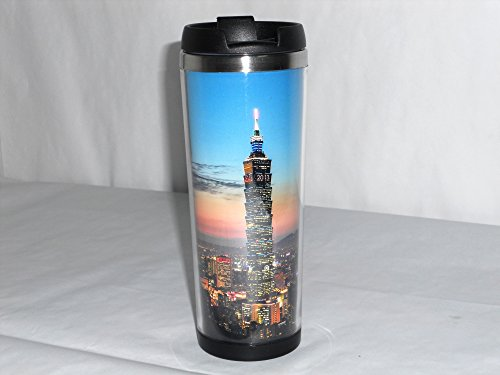 Boyan New High Quality Taipei Financial Center 101 Building City Night View Pattern Coffee Mug Tea Cup Travel Cup Drink Ware 18 Cm 420 Ml