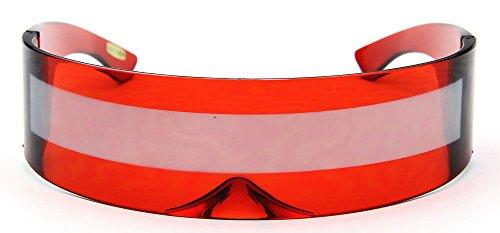 Red Silver Shield Sunglasses Futuristic Cyclops Monoblock 100% UV400 Mirror Lens