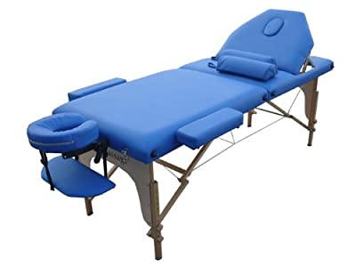 "Blue 2"" Pad 3 Fold Reiki Massage Table W/Free Two Bolster"