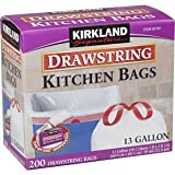 Kirkland Signature Drawstring Kitchen Trash Bags - 13 Gallon - Xl Size - 200 Count