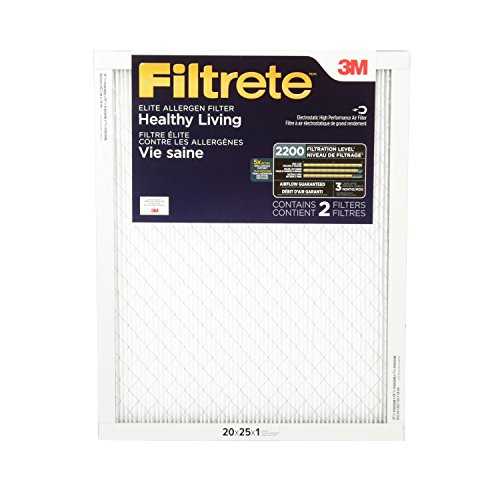 Filtrete Healthy Living Elite Allergen Reduction Filter, MPR 2200, 20 x 25 x 1-Inches, 2-Pack (20x20 Air Filter Filtrete compare prices)
