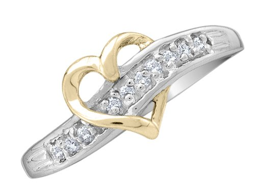 Diamond Heart Promise Ring in 10K White and Yellow Gold