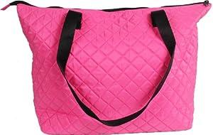 Quilted Shopper Tote - Hot Pink/Black - By Threadart by Threadart