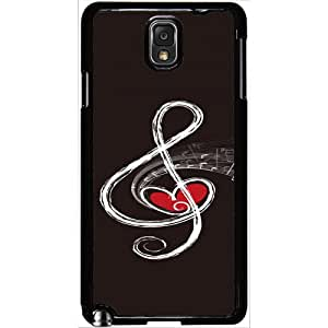 Casotec Love Note Music Design 2D Hard Back Case Cover for Samsung Galaxy Note 3 N9000 - Black