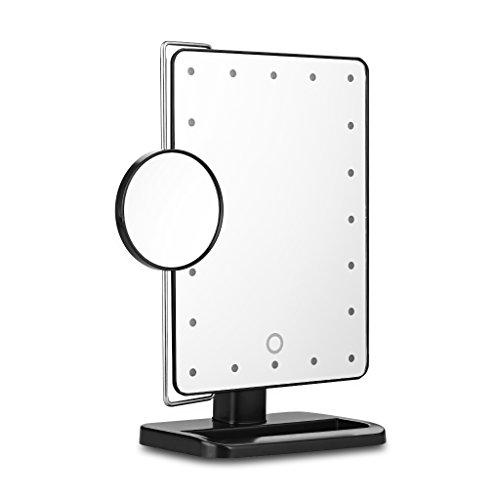 Ovonni-L208-LED-Touch-Screen-Kosmetikspiegel-mit-10X-Lupe-20-LEDs-beleuchteter-Schminkspiegel-Rasierspiegel-Dimmbar-Batteriebetrieben-schwarz