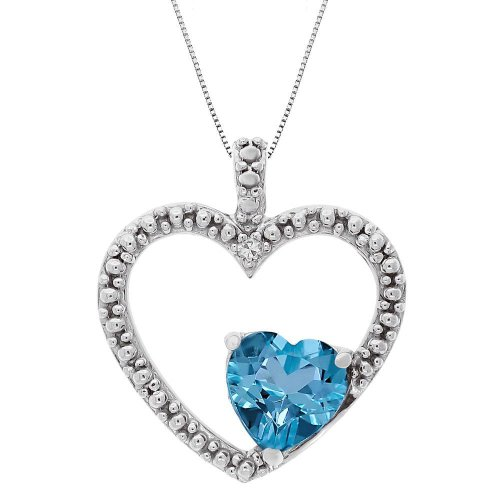 Blue Topaz and Diamond Double Heart Pendant