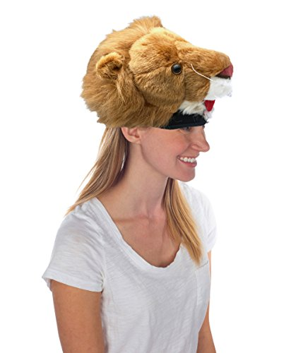 Rittle Furry Lion Animal Hat, Realistic Plush Costume Headwear, 1 Size
