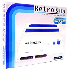 Retro Duo Twin Video Game System NES & SNES - Blue and White