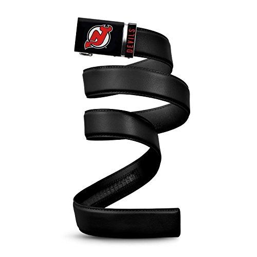"""NHL New Jersey Devils Mission Belt, Black Leather Ratchet Belt, Custom (Up to 56"""")"""
