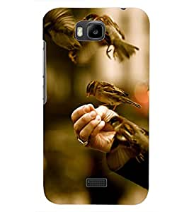 PrintDhaba SPARROWS D-7056 Back Case Cover for HUAWEI HONOR BEE (Multi-Coloured)
