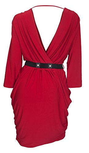 EVogues Women's Deep V-Neck Wrap Bodice Long Sleeve Dress Red - 1X