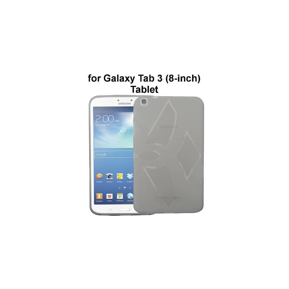 Samsung Galaxy Tab 3 8.0 inch (SM T310) Tablet TPU Rubberized Protective Cover Case   Smoke