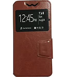 Aryamobi Diary Flip flap case cover for Samsung Z1 SM-Z130H Tizen - Brown One Window Diary With Magnetic Flap