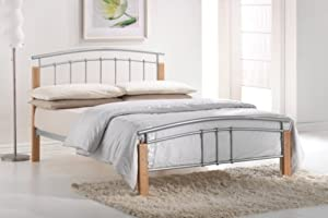Tetras 4Ft Silver/ Beech Small Double Bed Frame by Serene